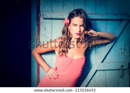 portrait of beautiful sexy pinup young lady having fun looking at camera posing on blue door copy space background - stock photo