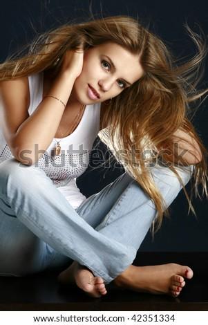 Portrait of beautiful sexy woman - stock photo
