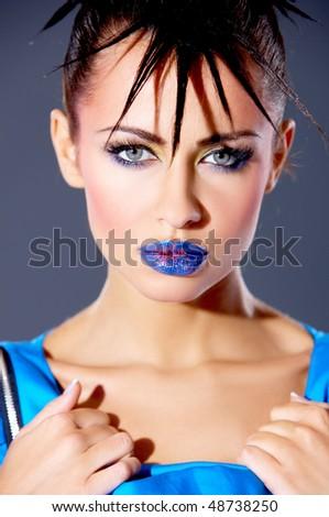 Portrait of beautiful sexy woman with punk haircut - stock photo