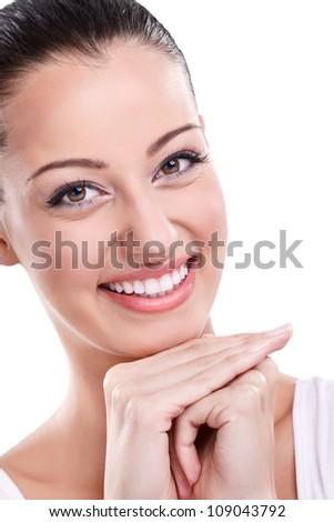 Portrait of beautiful smiling girl - stock photo