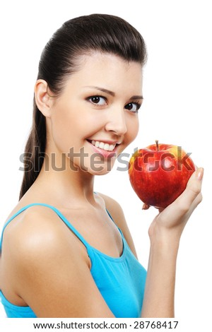 portrait of beautiful smiling girl eating apple - isolated
