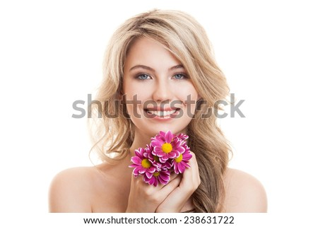 Portrait Of Beautiful Smiling Woman With Flowers. Clear Skin. - stock photo