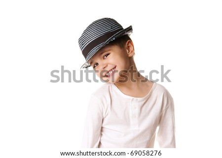 Portrait of beautiful stylish little boy isolated on white background - stock photo
