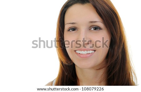 Portrait of beautiful teen girl in braces. Isolated on a white background