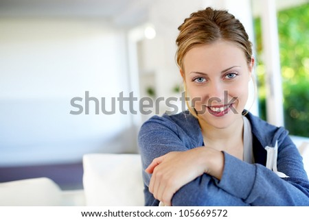 Portrait of beautiful teen girl with blue eyes - stock photo