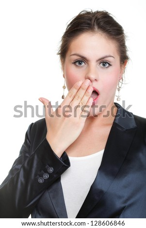 portrait of beautiful tired business woman stretching and yawning at her workplace isolated on white - stock photo