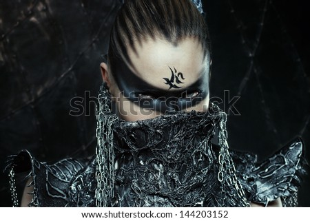 Portrait of beautiful warrior girl  - stock photo