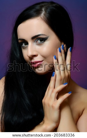 Portrait of beautiful woman - Creative make-up - stock photo