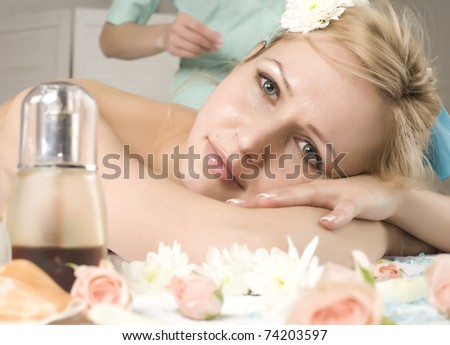 portrait of beautiful woman in spa salon