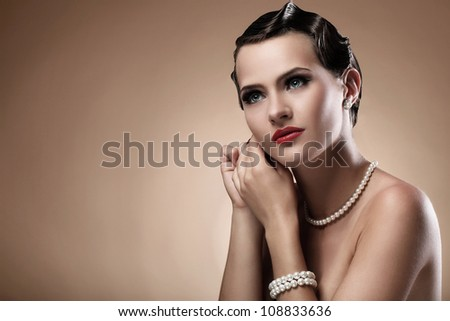 Portrait of beautiful woman in vintage image - stock photo
