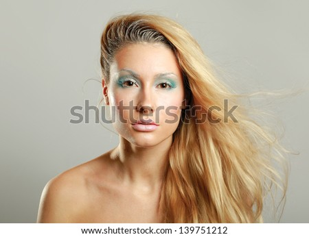 Portrait of beautiful woman , isolated on grey background