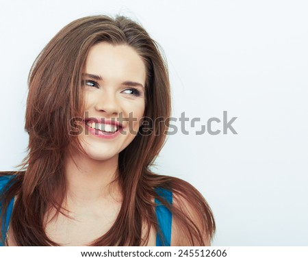 Portrait of Beautiful Woman. isolated white background. Young smiling model with long brown hair. - stock photo
