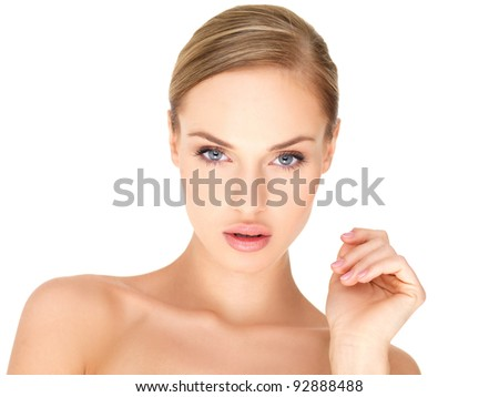 Portrait of beautiful woman on white background - stock photo
