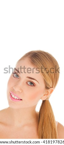 Portrait of beautiful woman on white background with pink lips and blue eyes - stock photo