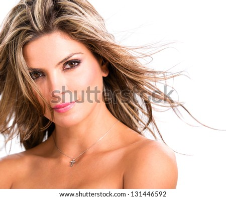 Portrait of beautiful woman smiling - isolated over a white background