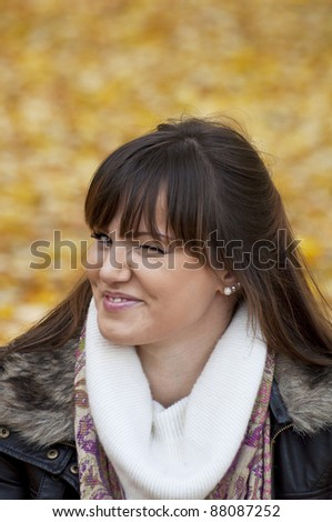 Portrait of beautiful woman twinkling and blinking - stock photo