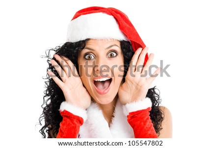 Portrait of beautiful woman wearing Christmas clothes