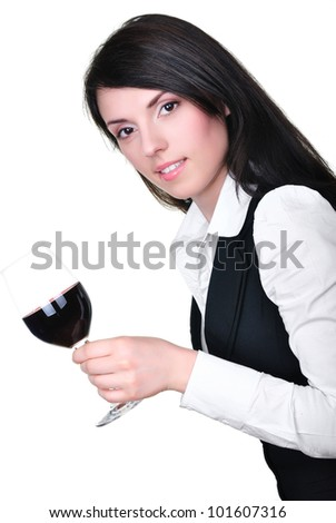 Portrait of beautiful woman with a glass of red wine - stock photo