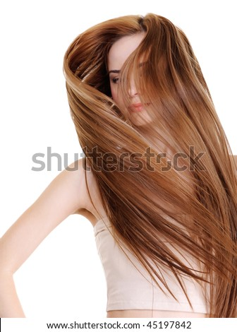 portrait of  beautiful  woman with beauty and creative straight long hairs on a white background