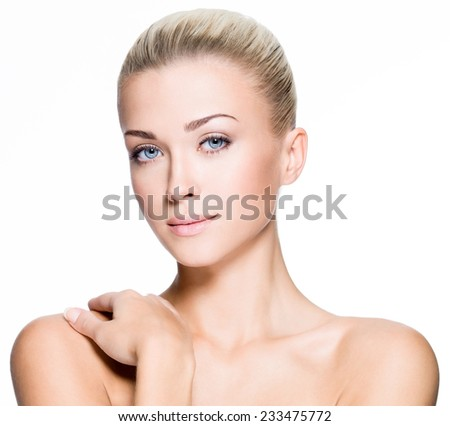 Portrait of beautiful woman with beauty face - isolated on white - stock photo