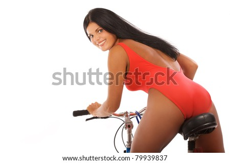 Portrait of beautiful woman with bike on white background - stock photo
