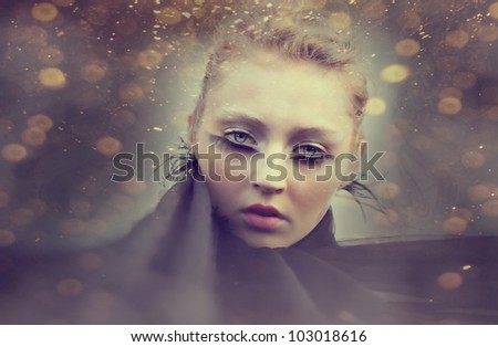 portrait of beautiful women with clouds mask.photo compilation. photo and hand-drawing elements combined. The grain and texture added. - stock photo