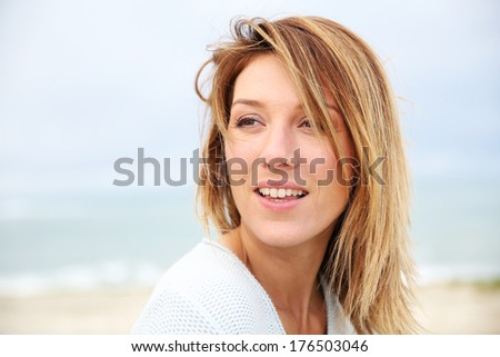 Portrait of beautiful 40-year-old blond woman - stock photo