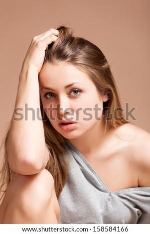 Portrait of beautiful yong woman - stock photo