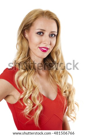 Portrait of beautiful young adult attractive sexy and sensuality happy smiling pretty blonde woman in red elegance fashionable dress isolated on white background