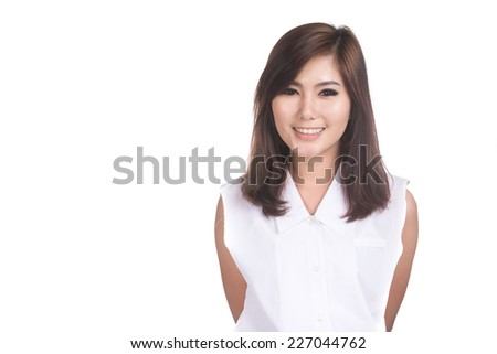 Portrait of beautiful young asian businesswoman,Thai girl.Closeup smiling woman,happiness concept,Positive human emotions,facial expressions,feeling ,signs,symbol,shot isolated on white background. - stock photo