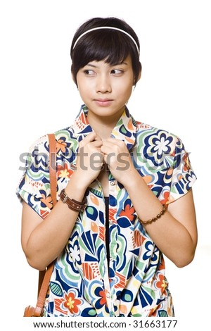 portrait of beautiful young asian on white background