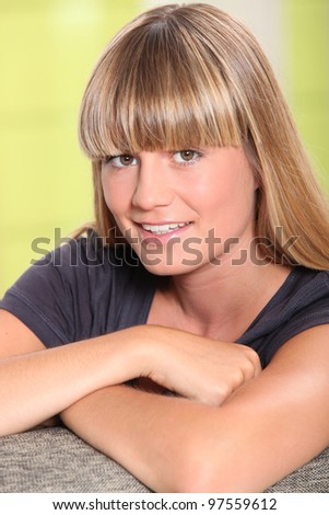 portrait of beautiful young blonde - stock photo