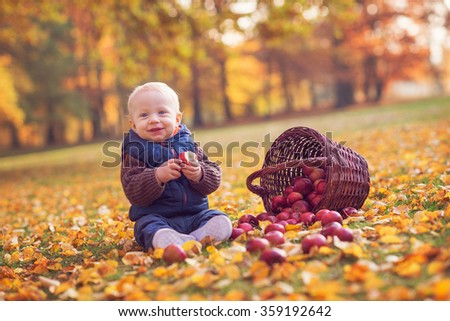 portrait of beautiful young boy eating apples - stock photo