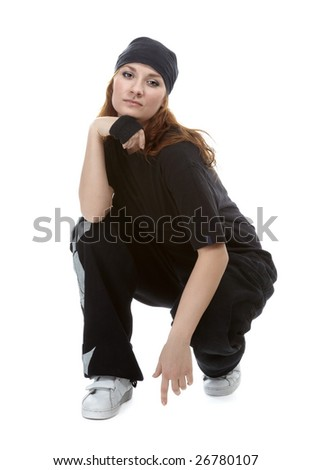 portrait of beautiful young breakdancer in black