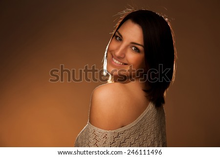 portrait of beautiful young caucasian woman with brown hair - stock photo