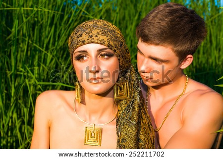 Portrait  of beautiful young couple man woman having relationship problems - stock photo