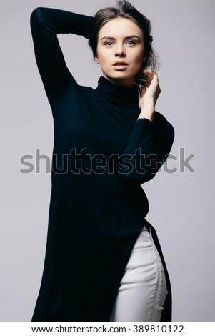 Portrait of beautiful young girl . Fashion photo - stock photo