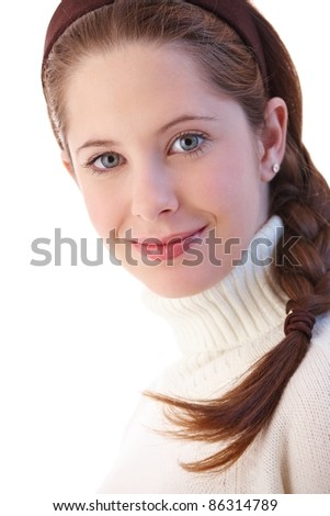 Portrait of beautiful young girl smiling at camera.? - stock photo