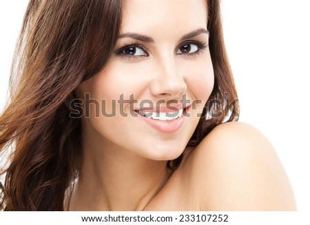 Portrait of beautiful young happy smiling woman, isolated over white background - stock photo