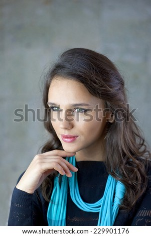 Portrait of beautiful young lady  - stock photo