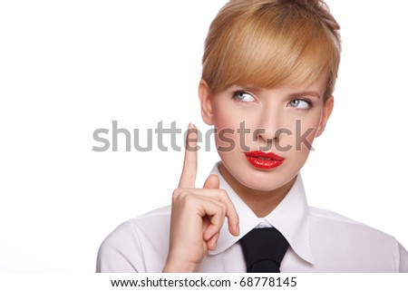Portrait of beautiful young sexy businesswoman, she looking up - stock photo