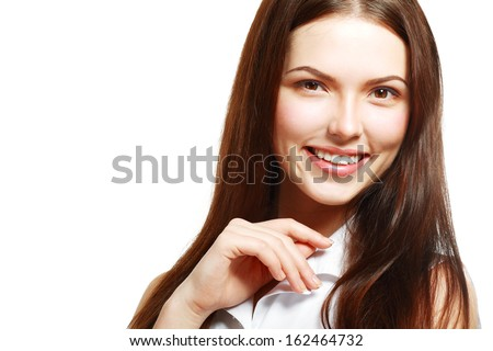 Portrait of beautiful young woman. Beauty portrait of gorgeous fresh smilng happy multi-racial girl smiling cheerful in white shirt isolated on white background.