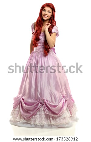 Portrait of beautiful young woman dressed in princess costume isolated over white background - stock photo