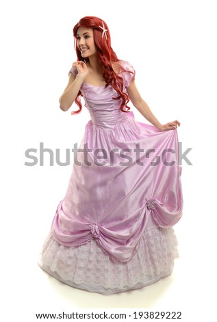 Portrait of Beautiful Young Woman in Princess costume isolated on a white background - stock photo