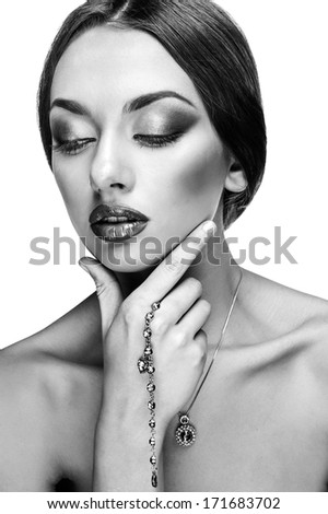 Portrait of beautiful young woman, isolated over white background.Fashion Glamour Makeup.