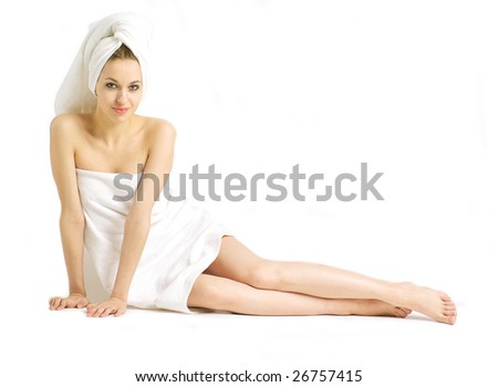 Portrait of beautiful young woman on a white background