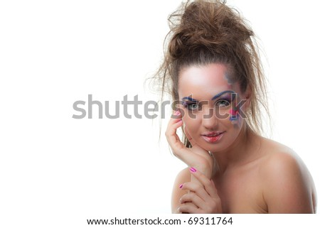 Portrait of beautiful young woman on a white background. Creative make-up. - stock photo