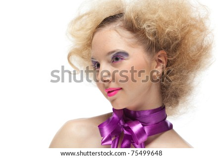 Portrait of beautiful young woman on a white background. Creative make-up.