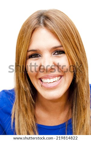 Portrait of Beautiful Young Woman Over White Background
