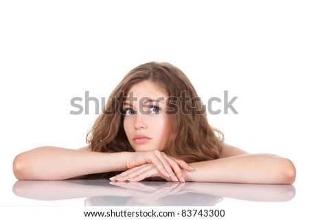 portrait of beautiful young woman think looking up, isolated over white background, studio shoot - stock photo